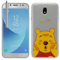 Samsung Galaxy J5 (2017) SM-J750F/DS/ J5 (2017) Duos J530F/DS: Coque Housse silicone TPU Transparente Ultra-Fine Dessin animé jolie + Stylet - Winnie the Pooh