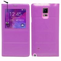 Samsung Galaxy Note 4 SM-N910F/ Note 4 Duos (Dual SIM) N9100/ Note 4 (CDMA)/ N910C N910W8 N910V N910A N910T N910M: Accessoire Coque Etui Housse Pochette Plastique View Case + mini Stylet - VIOLET