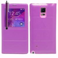 Samsung Galaxy Note 4 SM-N910F/ Note 4 Duos (Dual SIM) N9100/ Note 4 (CDMA)/ N910C N910W8 N910V N910A N910T N910M: Accessoire Coque Etui Housse Pochette Plastique View Case + Stylet - VIOLET