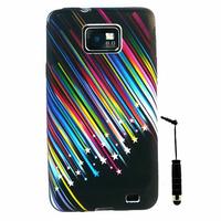 Samsung Galaxy S2 i9100/ i9105G/ Plus: Etui Housse Coque gel de couleur étoile filante + mini Stylet - NOIR
