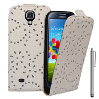 Samsung Galaxy S4 i9500/ i9505/ Value Edition I9515: Etui Housse Coque ultra fin avec strass + Stylet - BLANC