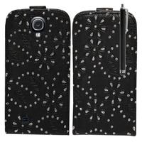 Samsung Galaxy S4 i9500/ i9505/ Value Edition I9515: Etui Housse Coque ultra fin avec strass + Stylet - NOIR