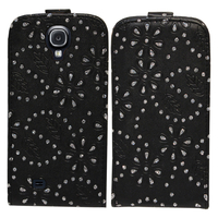 Samsung Galaxy S4 i9500/ i9505/ Value Edition I9515: Etui Housse Coque ultra fin avec strass - NOIR