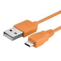 VCOMP® Câble de chargement et de données Micro-USB 2.0 1m de long - ORANGE
