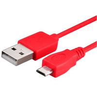 VCOMP® Câble de chargement et de données Micro-USB 2.0 1m de long - ROUGE