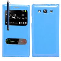 Samsung Galaxy S3 i9300/ i9305 Neo/ LTE 4G: Accessoire Coque Etui Housse Pochette Plastique View Case + Stylet - BLEU