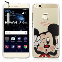 "Huawei P10 Lite 5.2"" (non compatible Huawei P10/ P10 Plus): Coque Housse silicone TPU Transparente Ultra-Fine Dessin animé jolie + mini Stylet - Mickey Mouse"