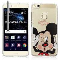"Huawei P10 Lite 5.2"" (non compatible Huawei P10/ P10 Plus): Coque Housse silicone TPU Transparente Ultra-Fine Dessin animé jolie + Stylet - Mickey Mouse"
