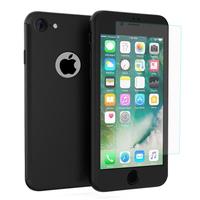 """Apple iPhone 7 4.7"""" (non compatible iPhone 7 Plus 5.5''): Coque de protection intégrale 360° Avant Et Arrière Ultra Mince Ultra Léger avec Verre Trempé pour l'Ecran - NOIR"""