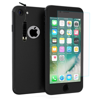"""Apple iPhone 7 4.7"""" (non compatible iPhone 7 Plus 5.5''): Coque de protection intégrale 360° Avant Et Arrière Ultra Mince Ultra Léger avec Verre Trempé pour l'Ecran + mini Stylet - NOIR"""