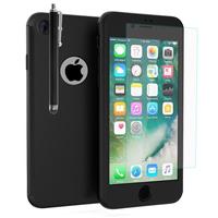 """Apple iPhone 7 4.7"""" (non compatible iPhone 7 Plus 5.5''): Coque de protection intégrale 360° Avant Et Arrière Ultra Mince Ultra Léger avec Verre Trempé pour l'Ecran + Stylet - NOIR"""