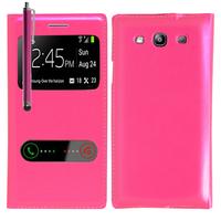 Samsung Galaxy S3 i9300/ i9305 Neo/ LTE 4G: Accessoire Coque Etui Housse Pochette Plastique View Case + Stylet - ROSE