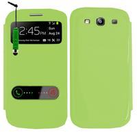 Samsung Galaxy S3 i9300/ i9305 Neo/ LTE 4G: Accessoire Coque Etui Housse Pochette Plastique View Case + mini Stylet - VERT