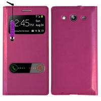 Samsung Galaxy S3 i9300/ i9305 Neo/ LTE 4G: Accessoire Coque Etui Housse Pochette Plastique View Case + mini Stylet - VIOLET