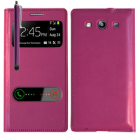Samsung Galaxy S3 i9300/ i9305 Neo/ LTE 4G: Accessoire Coque Etui Housse Pochette Plastique View Case + Stylet - VIOLET