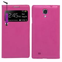 Samsung Galaxy S4 i9500/ i9505/ Value Edition I9515: Accessoire Coque Etui Housse Pochette Plastique View Case + mini Stylet - VIOLET