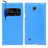Samsung Galaxy S4 mini i9190/ S4 mini plus I9195I/ i9192/ i9195/ i9197: Accessoire Coque Etui Housse Pochette Plastique View Case + mini Stylet - BLEU