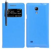 Samsung Galaxy S4 mini i9190/ S4 mini plus I9195I/ i9192/ i9195/ i9197: Accessoire Coque Etui Housse Pochette Plastique View Case + Stylet - BLEU