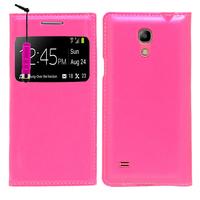 Samsung Galaxy S4 mini i9190/ S4 mini plus I9195I/ i9192/ i9195/ i9197: Accessoire Coque Etui Housse Pochette Plastique View Case + mini Stylet - ROSE