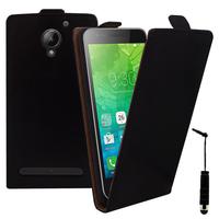 """Lenovo C2 k10a40 4G/ Vibe C2 Power 5.0"""": Accessoire Housse Coque Pochette Etui protection vrai cuir à rabat vertical + mini Stylet - NOIR"""