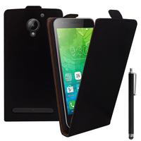 """Lenovo C2 k10a40 4G/ Vibe C2 Power 5.0"""": Accessoire Housse Coque Pochette Etui protection vrai cuir à rabat vertical + Stylet - NOIR"""
