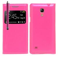 Samsung Galaxy S4 mini i9190/ S4 mini plus I9195I/ i9192/ i9195/ i9197: Accessoire Coque Etui Housse Pochette Plastique View Case + Stylet - ROSE