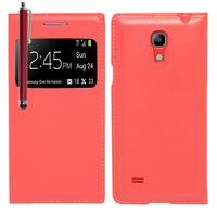 Samsung Galaxy S4 mini i9190/ S4 mini plus I9195I/ i9192/ i9195/ i9197: Accessoire Coque Etui Housse Pochette Plastique View Case + Stylet - ROUGE