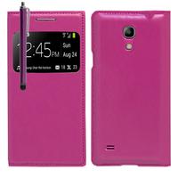 Samsung Galaxy S4 mini i9190/ S4 mini plus I9195I/ i9192/ i9195/ i9197: Accessoire Coque Etui Housse Pochette Plastique View Case + Stylet - VIOLET