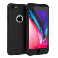 """Apple iPhone 8 4.7"""": Coque de protection intégrale 360° Avant Et Arrière Ultra Mince Ultra Léger avec Verre Trempé pour l'Ecran - NOIR"""