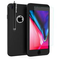 """Apple iPhone 8 4.7"""": Coque de protection intégrale 360° Avant Et Arrière Ultra Mince Ultra Léger avec Verre Trempé pour l'Ecran + Stylet - NOIR"""