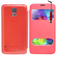 Samsung Galaxy S5 V G900F G900IKSMATW LTE G901F/ Duos / S5 Plus/ S5 Neo SM-G903F/ S5 LTE-A G906S: Accessoire Coque Etui Housse Pochette Plastique View Case + mini Stylet - ROUGE