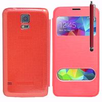 Samsung Galaxy S5 V G900F G900IKSMATW LTE G901F/ Duos / S5 Plus/ S5 Neo SM-G903F/ S5 LTE-A G906S: Accessoire Coque Etui Housse Pochette Plastique View Case + Stylet - ROUGE