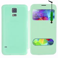 Samsung Galaxy S5 V G900F G900IKSMATW LTE G901F/ Duos / S5 Plus/ S5 Neo SM-G903F/ S5 LTE-A G906S: Accessoire Coque Etui Housse Pochette Plastique View Case + mini Stylet - VERT