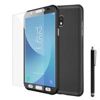 Samsung Galaxy J5 Pro (2017) J530Y/DS: Coque de protection intégrale 360° Avant Et Arrière Ultra Mince Ultra Léger avec Verre Trempé pour l'Ecran + Stylet - NOIR