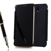 Samsung Galaxy J7 (2017) SM-J730F/DS/ J7 (2017) Duos J730F/DS: Coque Housse Etui de Protection Effet Miroir Clair en Plastique Rigide Livre rabat - NOIR