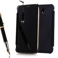 Samsung Galaxy J7 (2017) SM-J730F/DS/ J7 (2017) Duos J730F/DS: Coque Housse Etui de Protection Effet Miroir Clair en Plastique Rigide Livre rabat + mini Stylet - NOIR