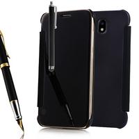 Samsung Galaxy J7 (2017) SM-J730F/DS/ J7 (2017) Duos J730F/DS: Coque Housse Etui de Protection Effet Miroir Clair en Plastique Rigide Livre rabat + Stylet - NOIR