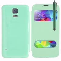 Samsung Galaxy S5 V G900F G900IKSMATW LTE G901F/ Duos / S5 Plus/ S5 Neo SM-G903F/ S5 LTE-A G906S: Accessoire Coque Etui Housse Pochette Plastique View Case + Stylet - VERT