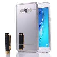 Samsung Galaxy J5 (2016) J510FN/ J510F/ J510G/ J510Y/ J510M/ J5 Duos (2016) (non compatible Galaxy J5 (2015)): Coque Silicone avec arrière en effet Miroir bords silicone souple - ARGENT