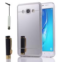 Samsung Galaxy J5 (2016) J510FN/ J510F/ J510G/ J510Y/ J510M/ J5 Duos (2016) (non compatible Galaxy J5 (2015)): Coque Silicone avec arrière en effet Miroir bords silicone souple + mini Stylet - ARGENT
