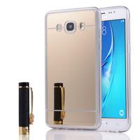 Samsung Galaxy J5 (2016) J510FN/ J510F/ J510G/ J510Y/ J510M/ J5 Duos (2016) (non compatible Galaxy J5 (2015)): Coque Silicone avec arrière en effet Miroir bords silicone souple - JAUNE