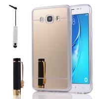 Samsung Galaxy J5 (2016) J510FN/ J510F/ J510G/ J510Y/ J510M/ J5 Duos (2016) (non compatible Galaxy J5 (2015)): Coque Silicone avec arrière en effet Miroir bords silicone souple + mini Stylet - JAUNE