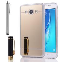 Samsung Galaxy J5 (2016) J510FN/ J510F/ J510G/ J510Y/ J510M/ J5 Duos (2016) (non compatible Galaxy J5 (2015)): Coque Silicone avec arrière en effet Miroir bords silicone souple + Stylet - JAUNE