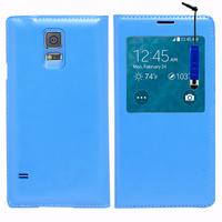 Samsung Galaxy S5 Mini G800F G800H / Duos: Accessoire Coque Etui Housse Pochette Plastique View Case + mini Stylet - BLEU