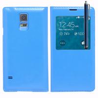 Samsung Galaxy S5 Mini G800F G800H / Duos: Accessoire Coque Etui Housse Pochette Plastique View Case + Stylet - BLEU