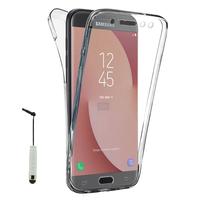 Samsung Galaxy J7 (2017) SM-J730F/DS/ J7 (2017) Duos J730F/DS: Coque Housse Silicone Gel TRANSPARENTE ultra mince 360° protection intégrale Avant et Arrière + mini Stylet - TRANSPARENT