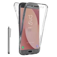 Samsung Galaxy J7 (2017) SM-J730F/DS/ J7 (2017) Duos J730F/DS: Coque Housse Silicone Gel TRANSPARENTE ultra mince 360° protection intégrale Avant et Arrière + Stylet - TRANSPARENT