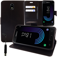 Samsung Galaxy J3 (2017) J330F/DS/ J330G/DS/ J3 Pro (2017) (non compatible Galaxy J3 2016/ 2015): Accessoire Etui portefeuille Livre Housse Coque Pochette support vidéo cuir PU + mini Stylet - NOIR