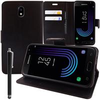 Samsung Galaxy J3 (2017) J330F/DS/ J330G/DS/ J3 Pro (2017) (non compatible Galaxy J3 2016/ 2015): Accessoire Etui portefeuille Livre Housse Coque Pochette support vidéo cuir PU + Stylet - NOIR