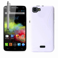 Wiko Rainbow: Accessoire Housse Etui Pochette Coque S silicone gel + Stylet - BLANC